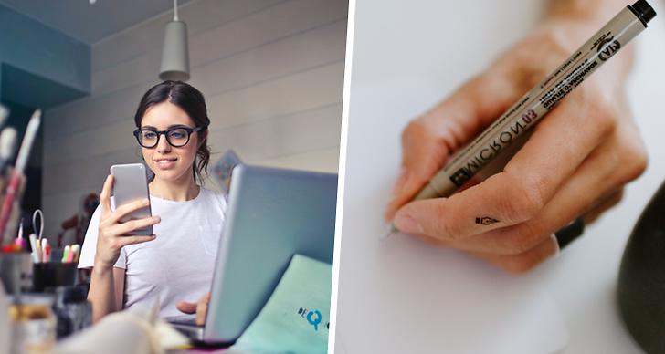 Bilden är ett montage på en Art Director som jobbar vid datorn och en bild på en hand som målar.