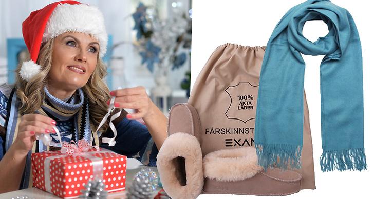 Bild på en mamma som öppnar ett paket och julklappstips under 500.