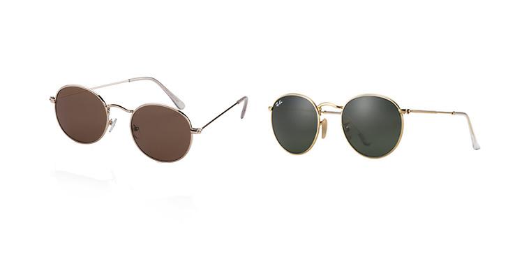 Solglasögon från Gina Tricot, ca 80 kr VS Solglasögon från Ray-Ban, ca 1 500 kr.