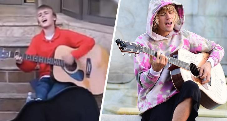 Justin Bieber spelar gitarr när han är liten, bredvid Justin Bieber som spelar gitarr idag.