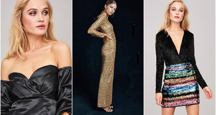 Crop top, guldglittrig klänning, färgglad paljettkjol