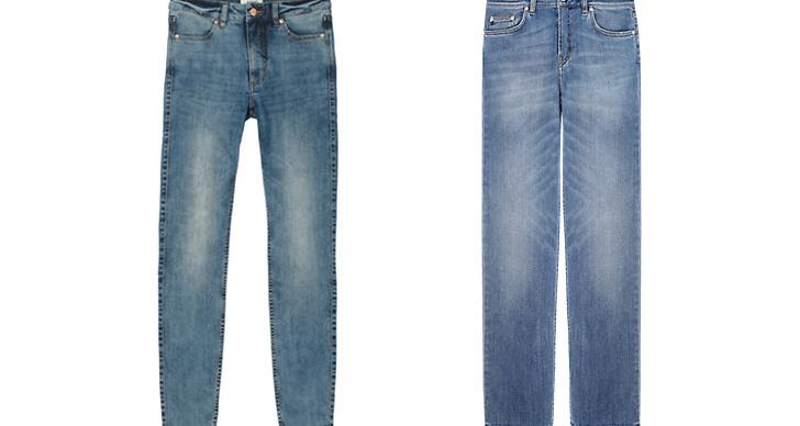 Jeans från Monki, ca 300 kr VS Jeans från Filippa K, ca 1 400 kr.