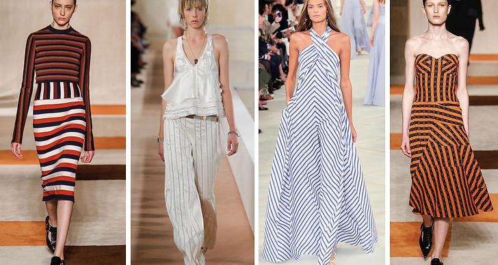 2. Ränder. I vår kommer ränderna finnas på alla plagg, byxor, blusar och klänningar. Trenden har synts på visningar från bland annat Victoria Beckham, Balenciaga och Ralph Lauren.