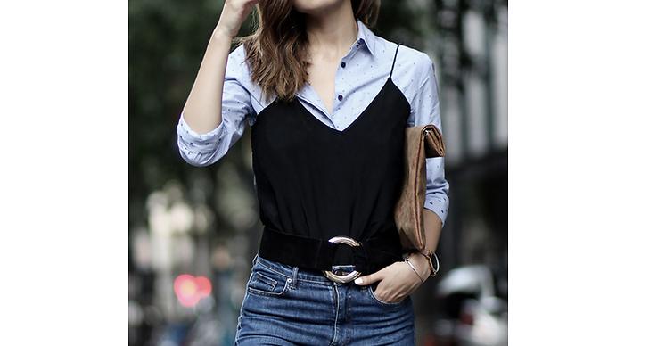 Matcha ditt minimalistiska linne med en gammal skjorta och ett skärp.