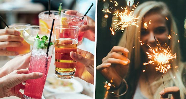 En bild på drinkar och en bild på en tjej med tomtebloss.