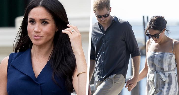 Till vänster Meghan Markle och till höger prins Harry och Meghan.