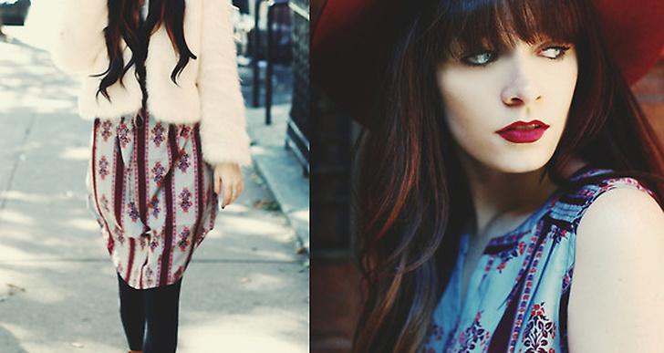 Rachel-Marie från New York är färgglad och snygg i vit fuskpäls och räd hatt! http://thenativefox.blogspot.com/