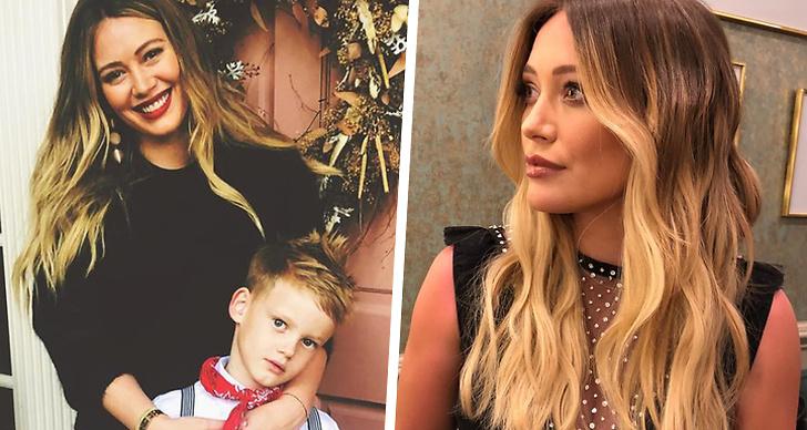 Till vänster Hilary Duff och sonen Luca, till höger Hilary Duff