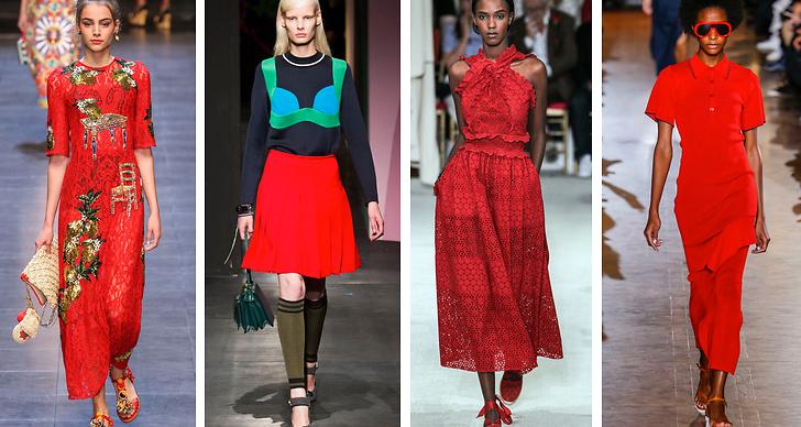 3. Rött. Spanska influenser sipprar igenom modet i vår och för med sig den klarröda färgen. Modehus om visat upp trenden är  Dolce & Gabbana, Prada, Oscar de la Renta och Stella McCartney