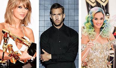 Katy Perry, Kanye West, Kim Kardashian, Taylor Swift, Calvin Harris
