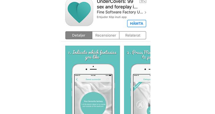 Appen UnderConvers ger olika förslag på fantasier och du kan swipa vänster (nej), mitten (öppen för diskussion) eller höger (ja).