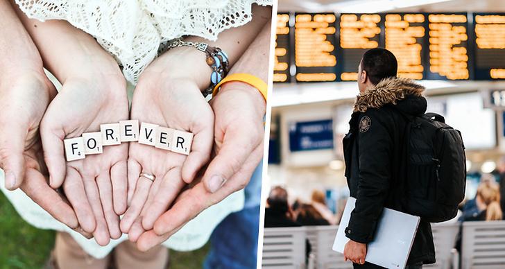 """Bilden är ett kollage med en bild på ett par som håller i brickor med texten """"forever"""" och till vänster är det en bild på en man på en tågstation."""