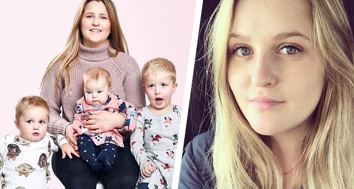 Fayme Elmén från Unga mammor tillsammans med barnen.