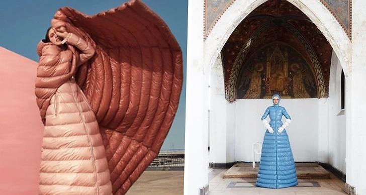 Två reklambilder på Monclers dunklänning.