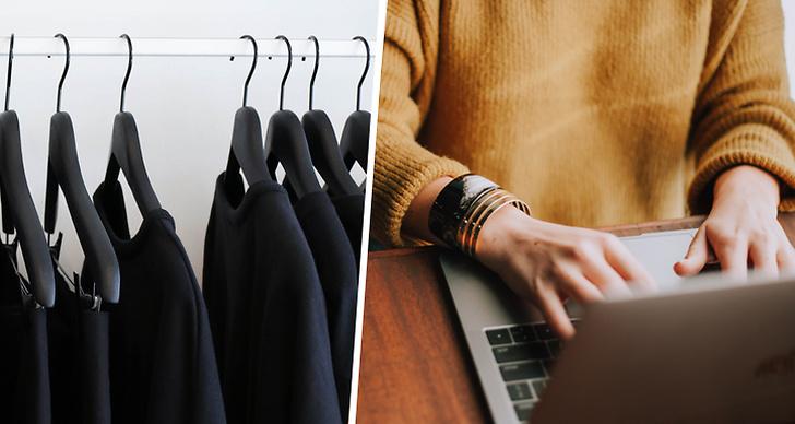 Kläder som hänger på galgar, en som sitter med dator