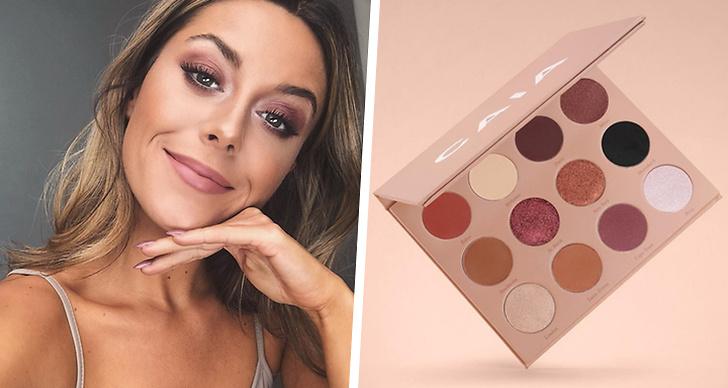 Till vänster en selfie på Bianca Ingrosso, till höger sminkpalett från Caia Cosmetics.