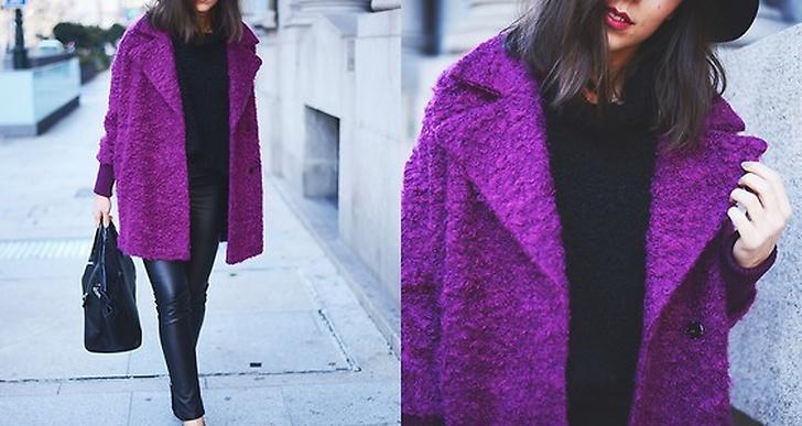 Carla från Spanien piggar upp vintern i sin magentafärgade kappa. http://lookbook.nu/carlaestevez