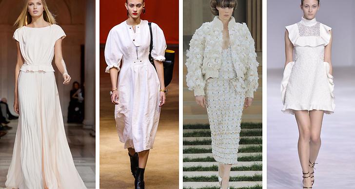 4. Vitt. Fräscht, krispigt vitt är helt rätt i vår, här sett på visningar av Carolina Herrera, Céline, Chanel och Giambattista Valli