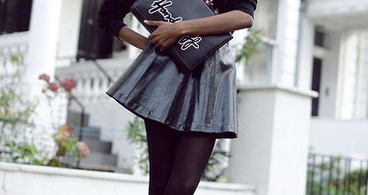 Modellen och bloggaren Natasha från U.K. i collagetröja, PVC-kjol och keps, http://lookbook.nu/bisousnatasha