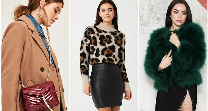 Beige kappa, leopardtröja, grön päls.
