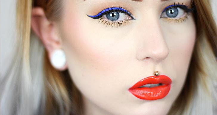 En aning nedtonad vår-makeup där jag bytt ut svarta eyeliner till en blå, så fräscht!