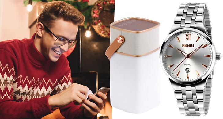 Bilden är ett montage på en bror och julklappar under 500 kronor.