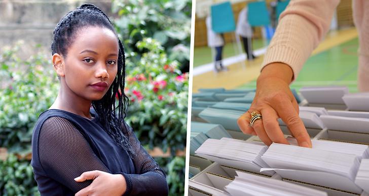 En tjej som står med armarna i kors på bilden till vänster. Till höger plockar en kvinna upp en valsedel.
